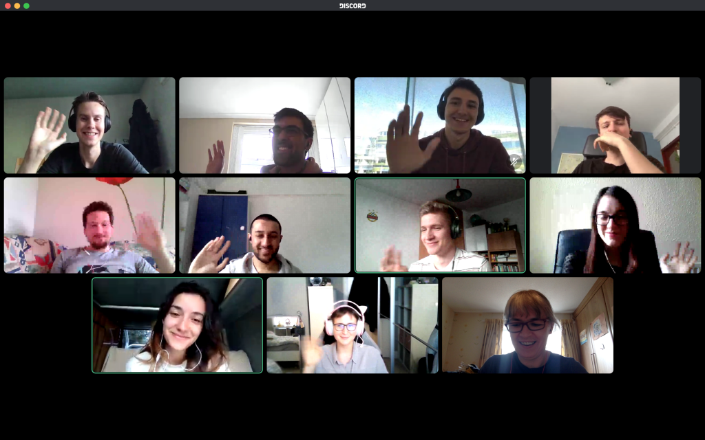 Student software company employees wave goodbye on Zoom